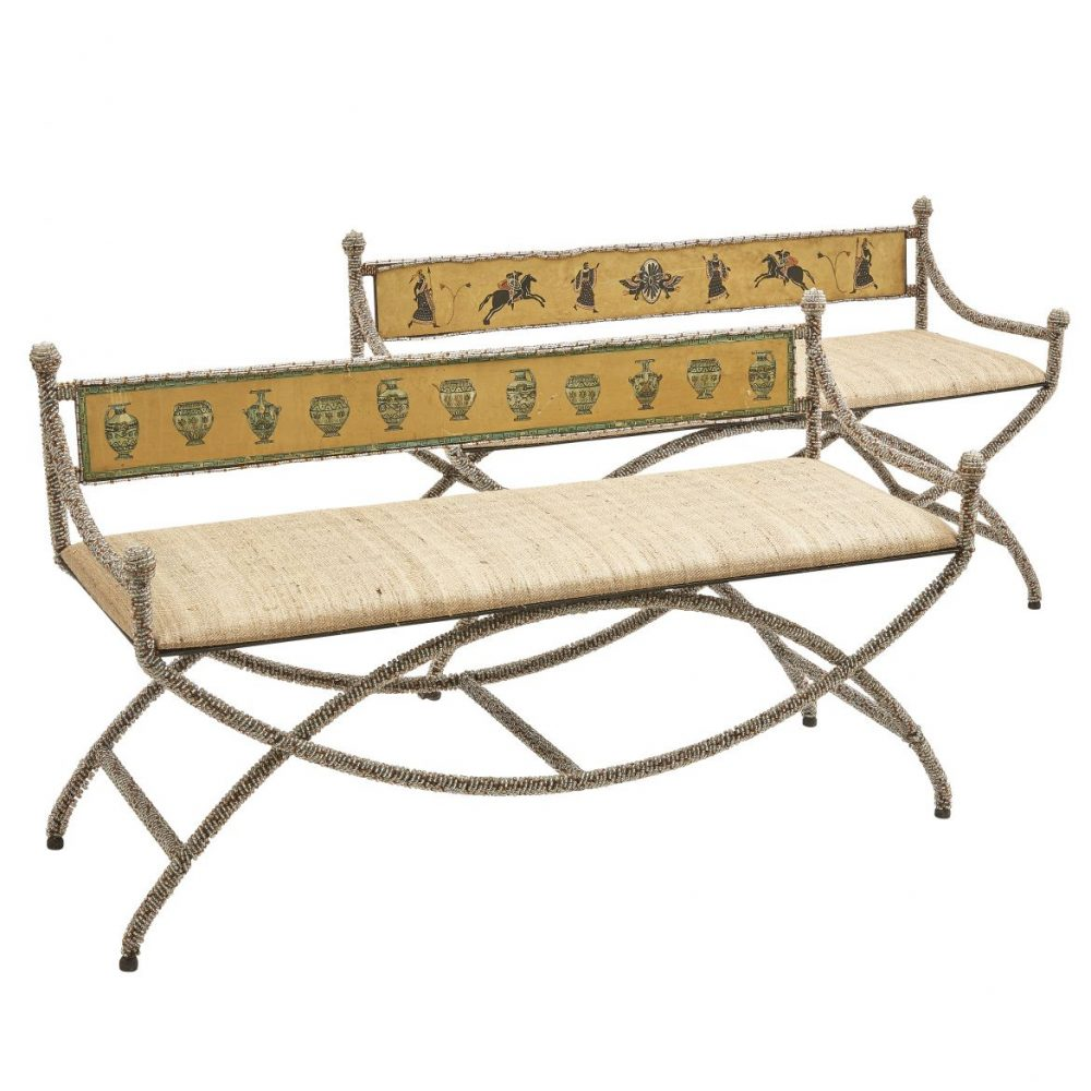 Sicilian Neoclassical Tole And Beaded Glass Benches