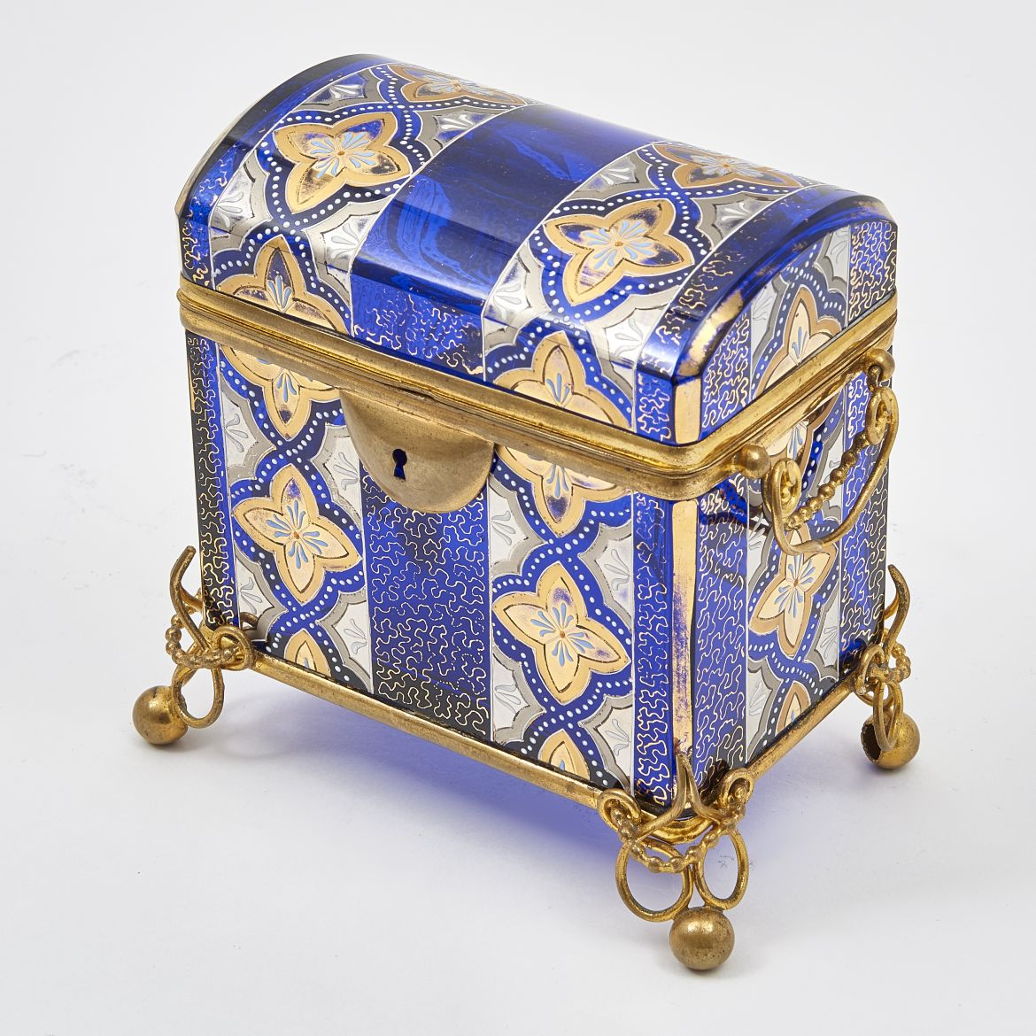 Blue glass and Enamel Box