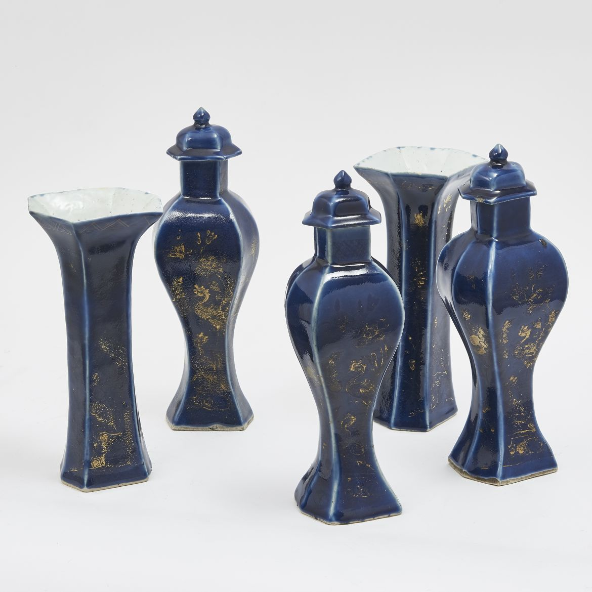 Chinese Five Piece Powder Blue Garniture