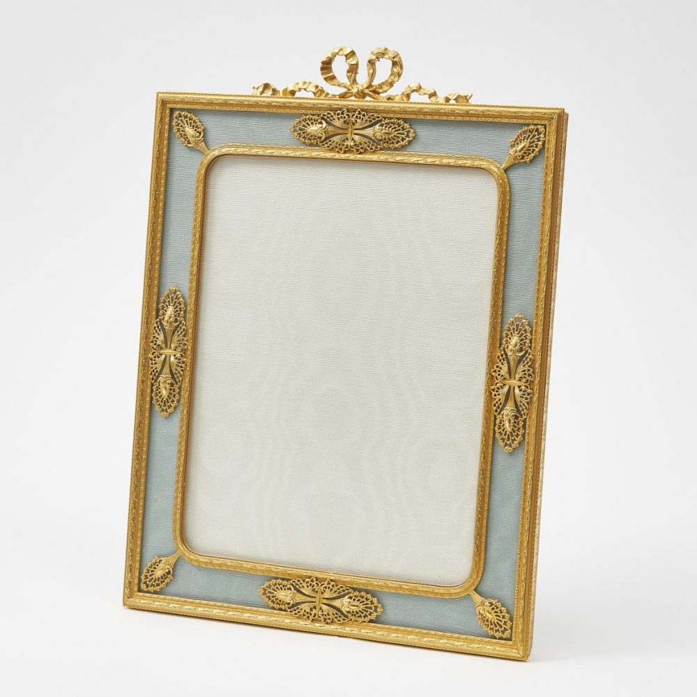 French Ormolu and Blue Silk Photo Frame