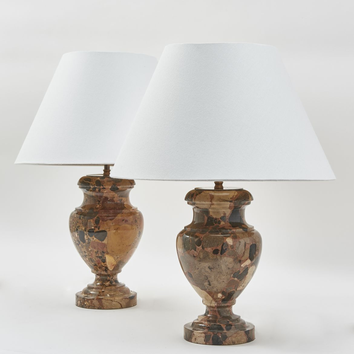 Pair French Breche D'Alep Marble Lamps