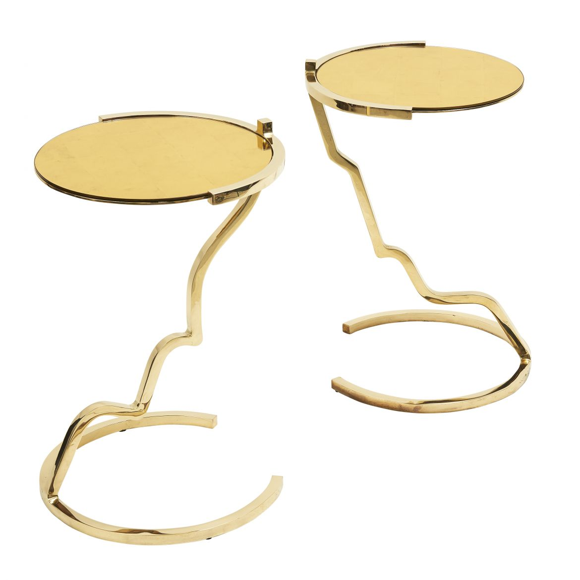Sculpted Brass Cocteau Face Tables By Arriau