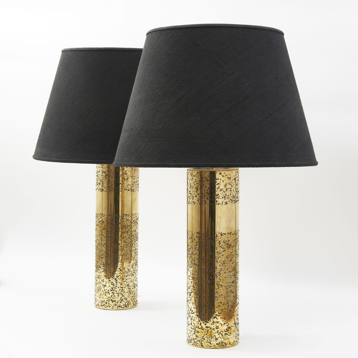 Pair Brass Aban Cylindrical Lamps By Arriau