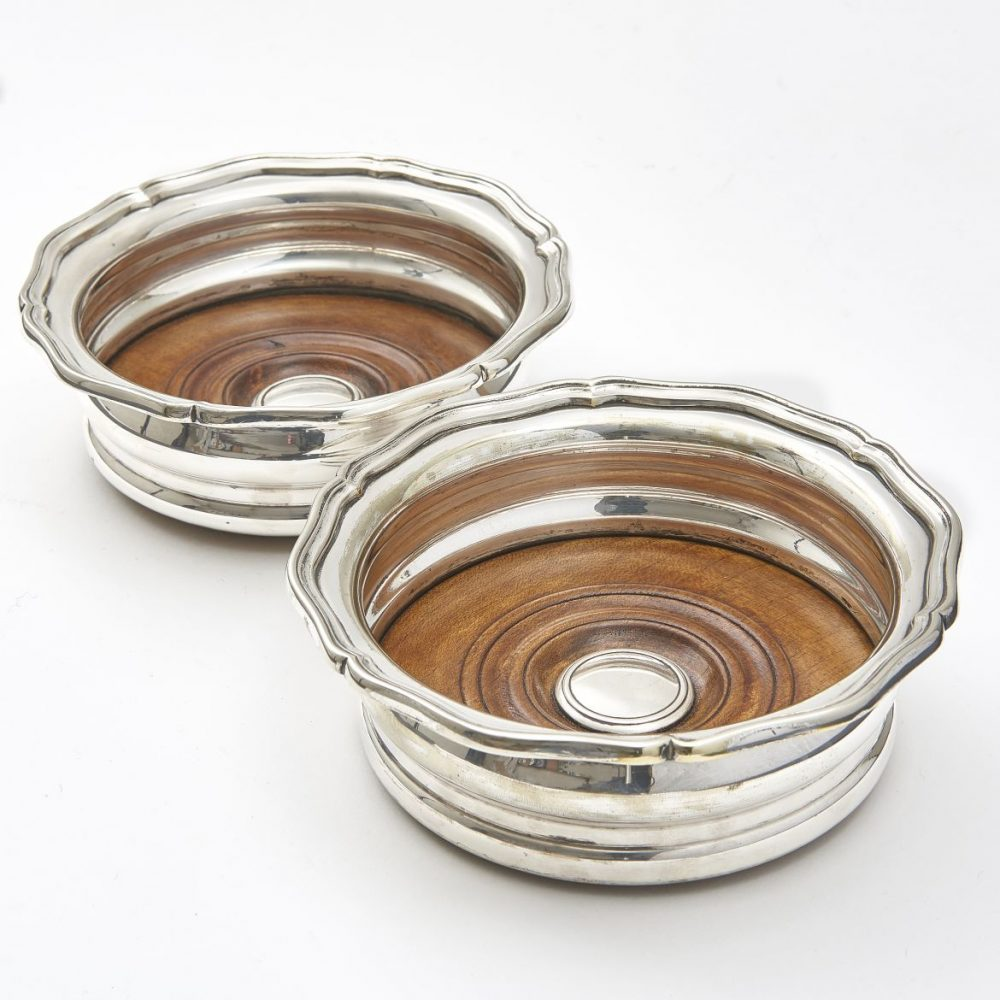 English Silver Plate Wine Coasters