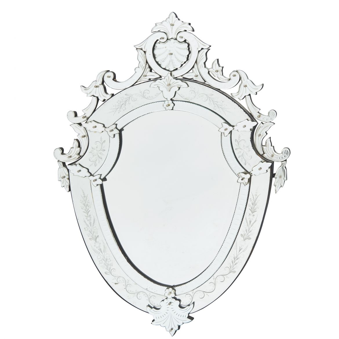 French Shield Shaped Venetian Style Mirror