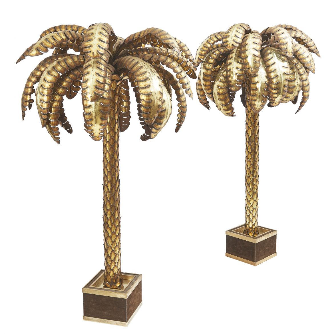 Pair Maison Jansen Palm Tree Lights