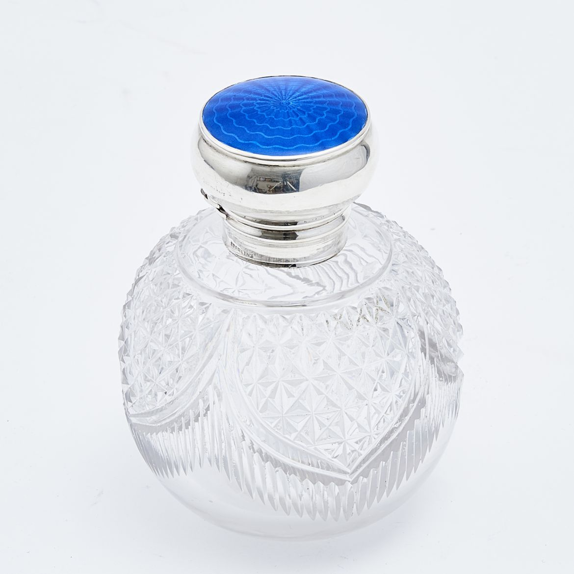 Crystal Perfume Bottle With Silver And Enamel Lid