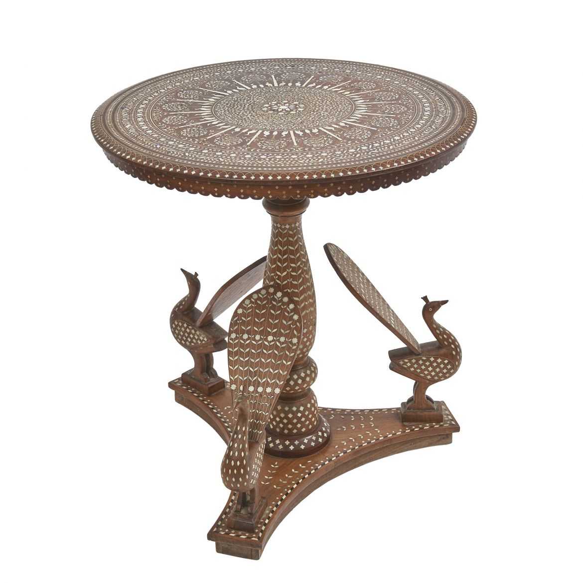 Indian Arabesque Table With Peacock Motifs