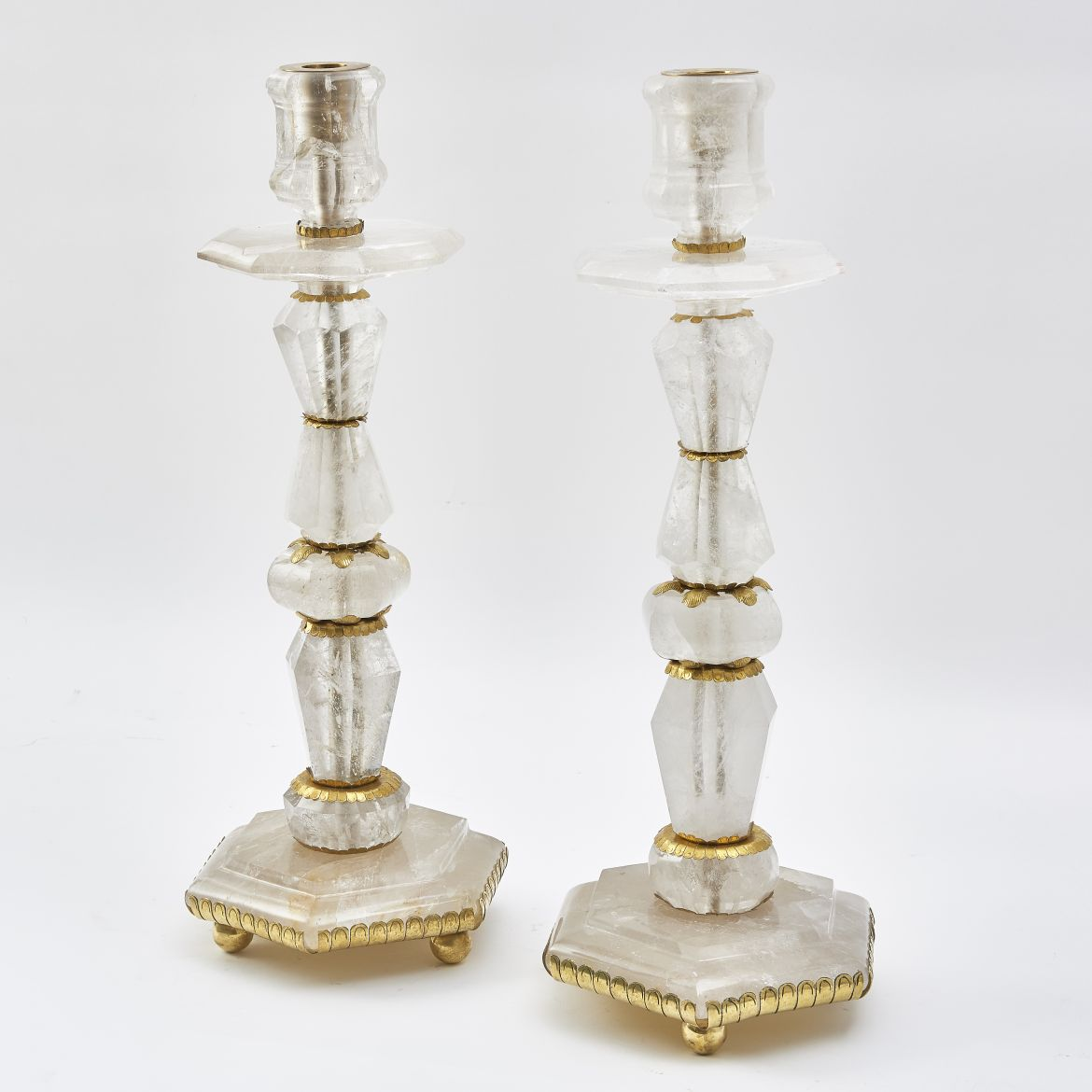 Baroque Style Rock Crystal Candlesticks