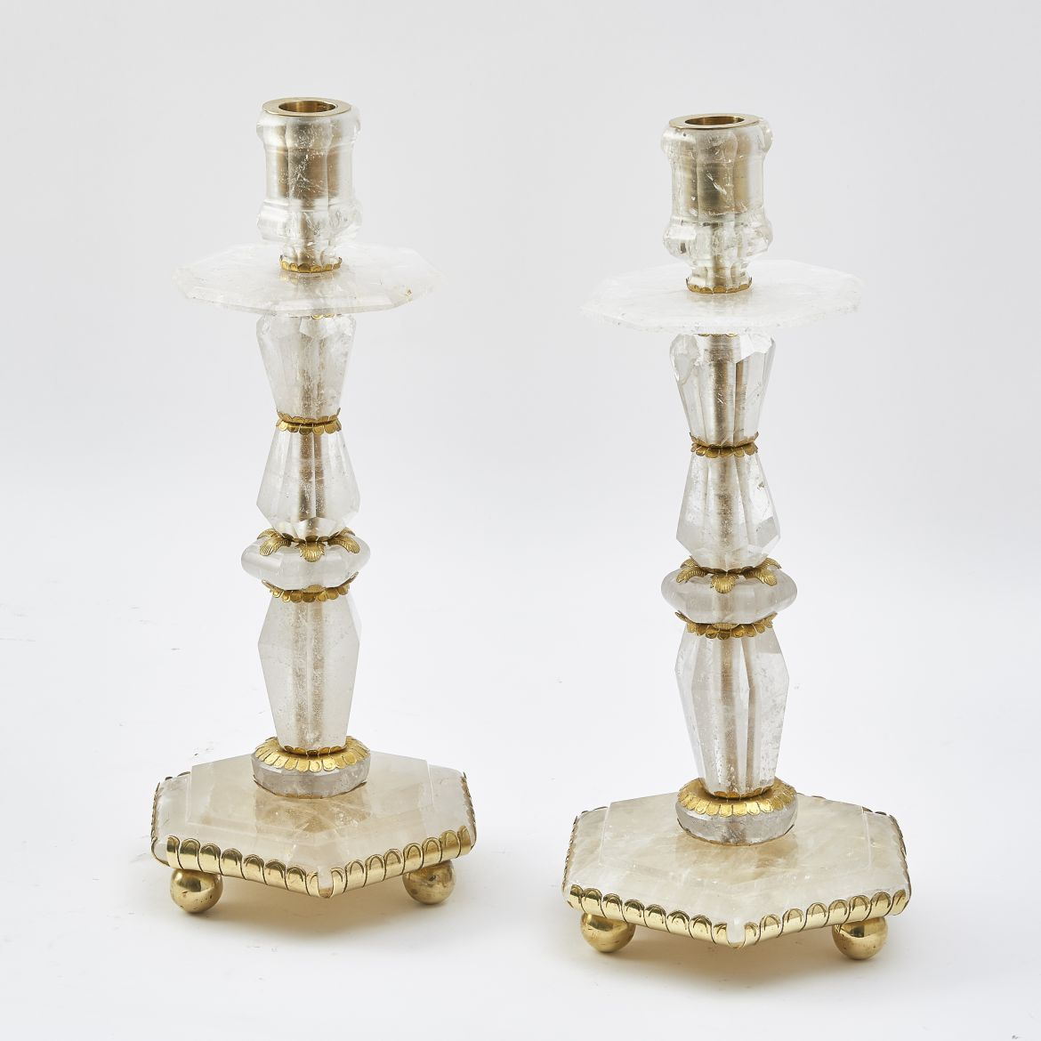 Pair Small Rock Crystal Candlesticks