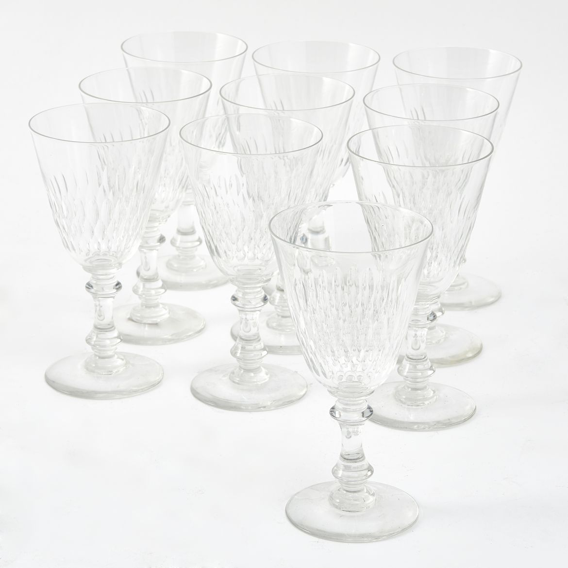Set Ten Val St Lambert Wine Glasses