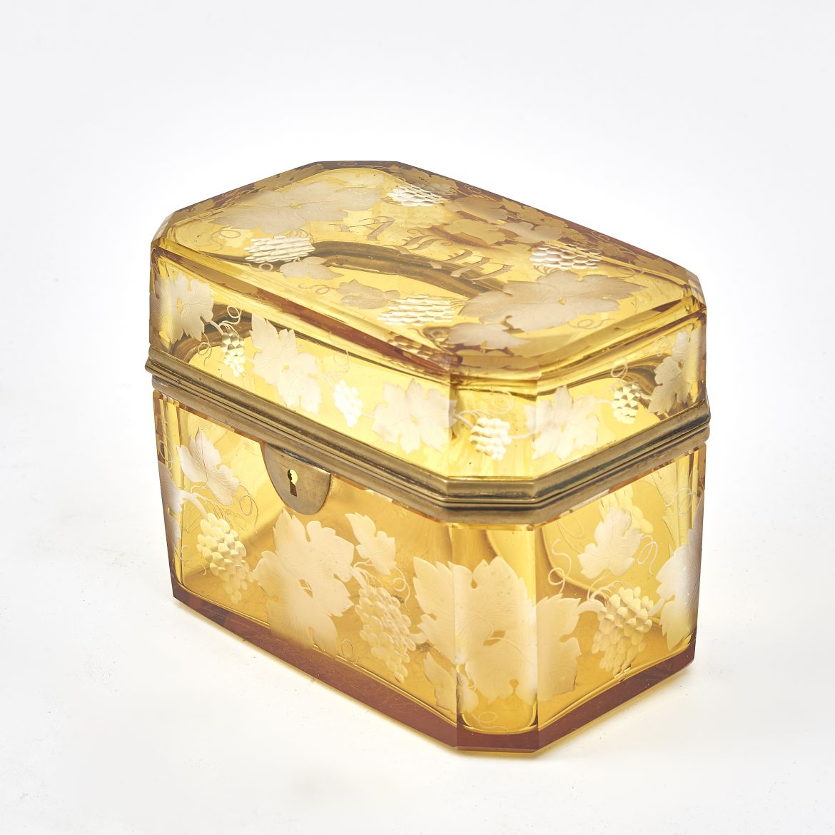 Bohemian Amber Etched Glass Box
