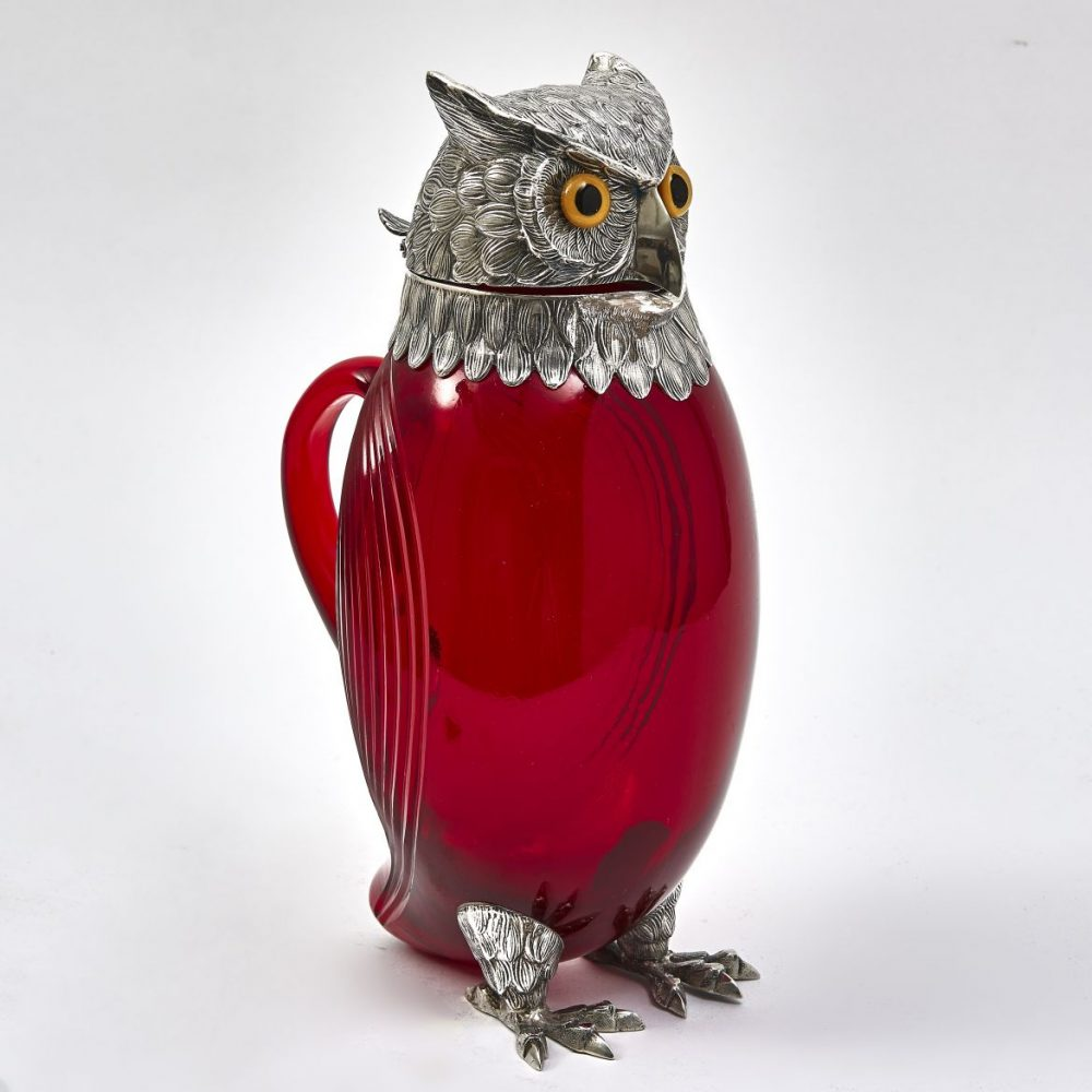 Ruby Glass Owl Shaped Claret Jug