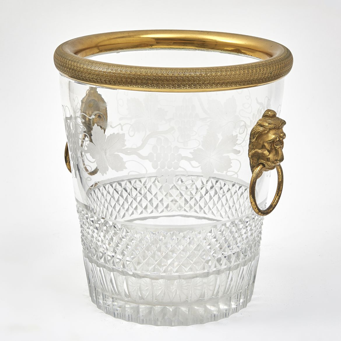 French Cut Crystal Engraved Champagne Bucket