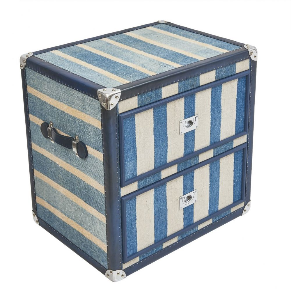 Single Blue And White Dhurrie Trunk