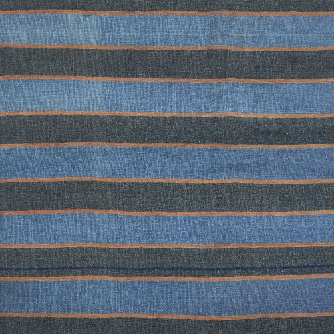 Blue And Caramel Striped Dhurrie