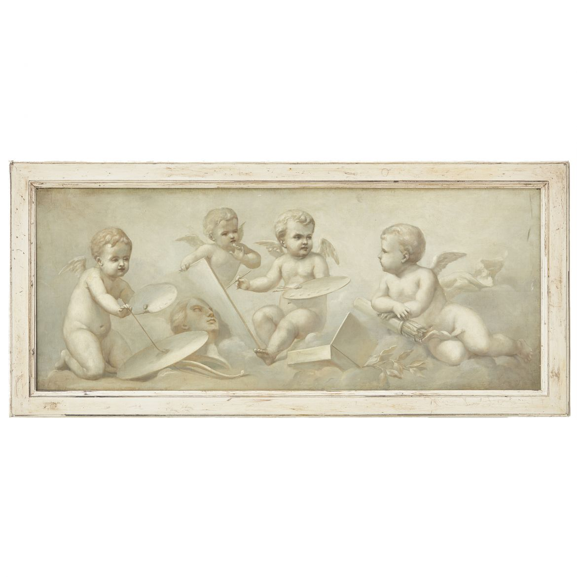 French En Grisaille Painting Of Cherubs