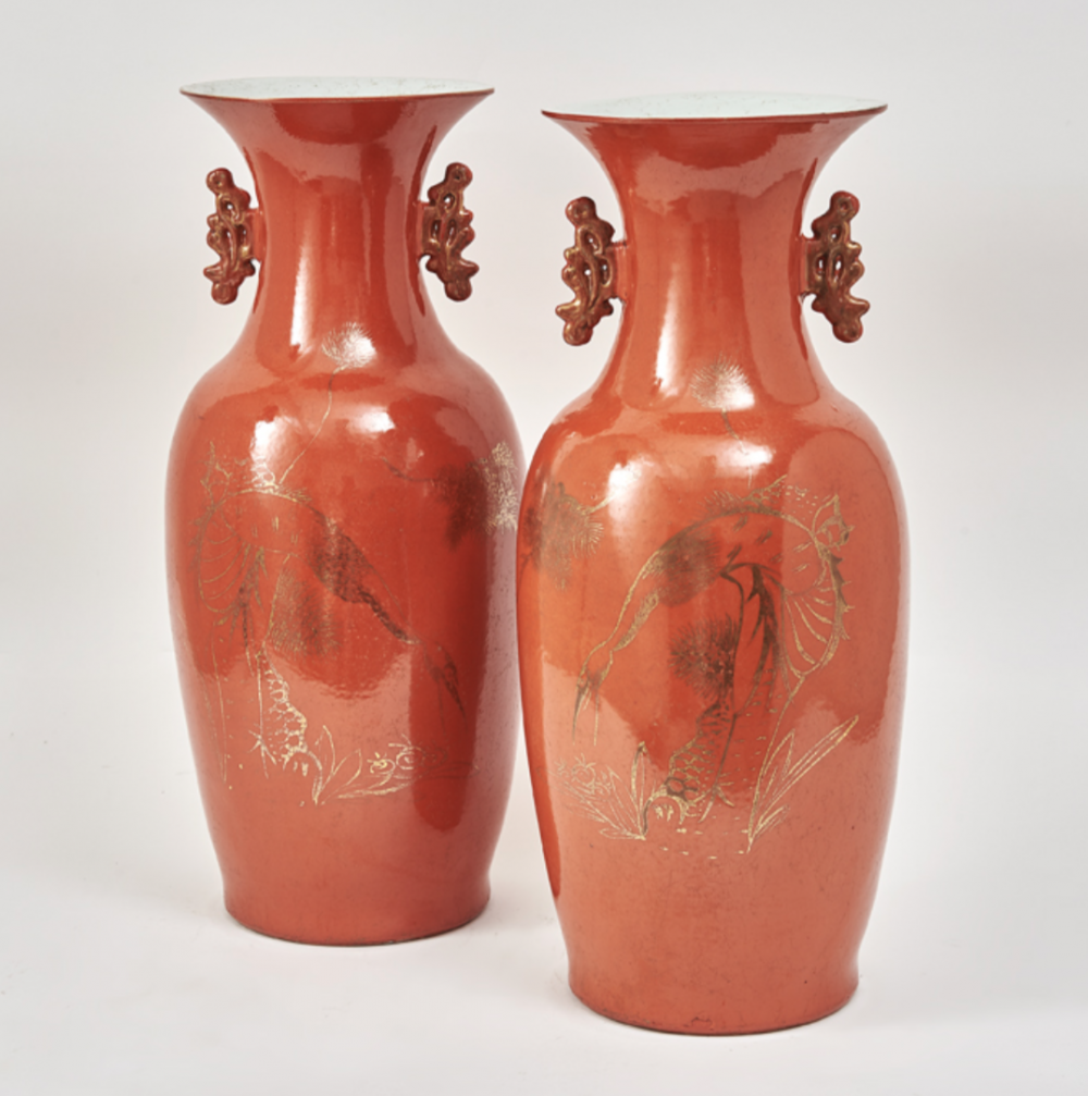 Chinese Orange Glaze Baluster Jars
