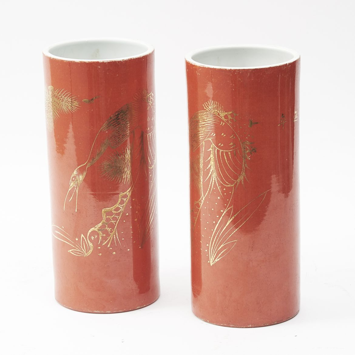 Pair Chinese Orange Glaze Vases