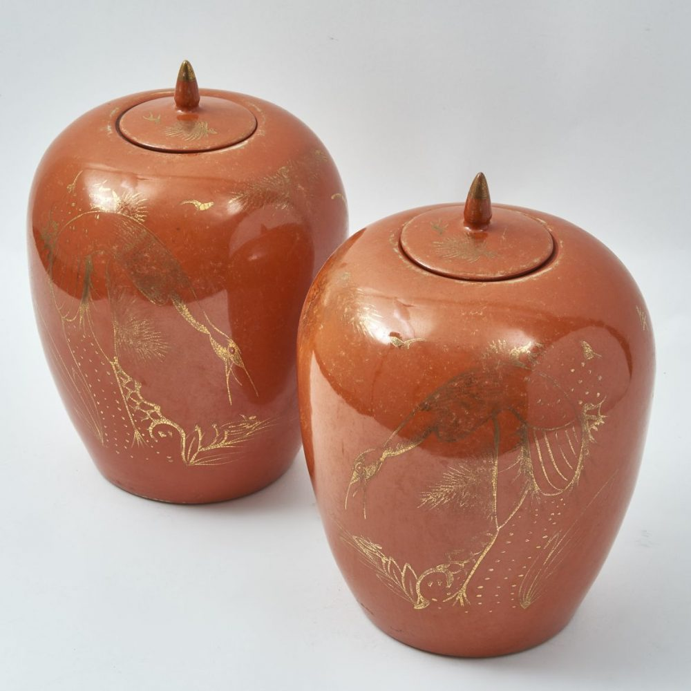 Chinese Orange Glaze Porcelain Melon Jars