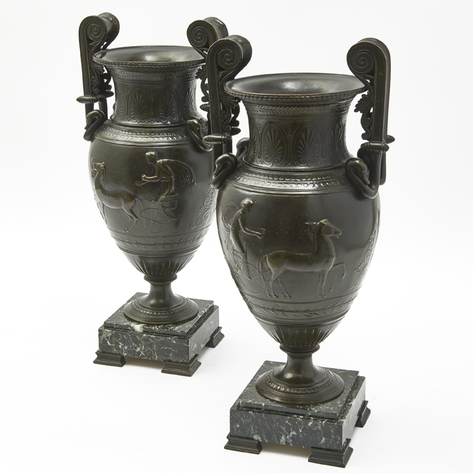 French Neoclassical Spelter Urns