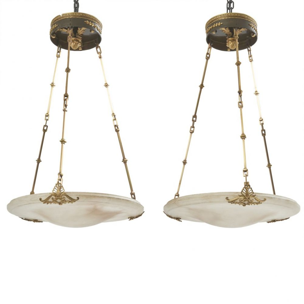 Napoleon III Alabaster Dish Lights