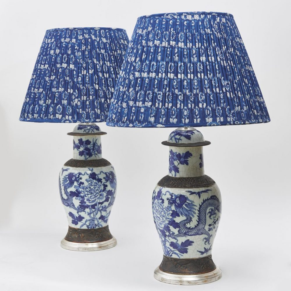 Chinese Blue And White Lamps