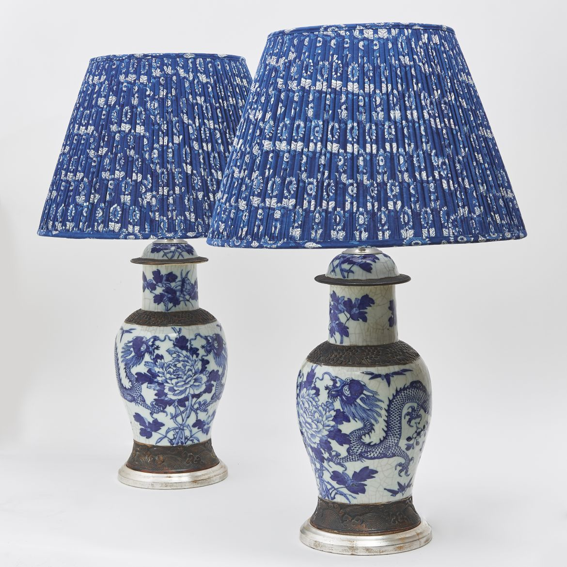 Chinese Blue And White Crackleware Lamps
