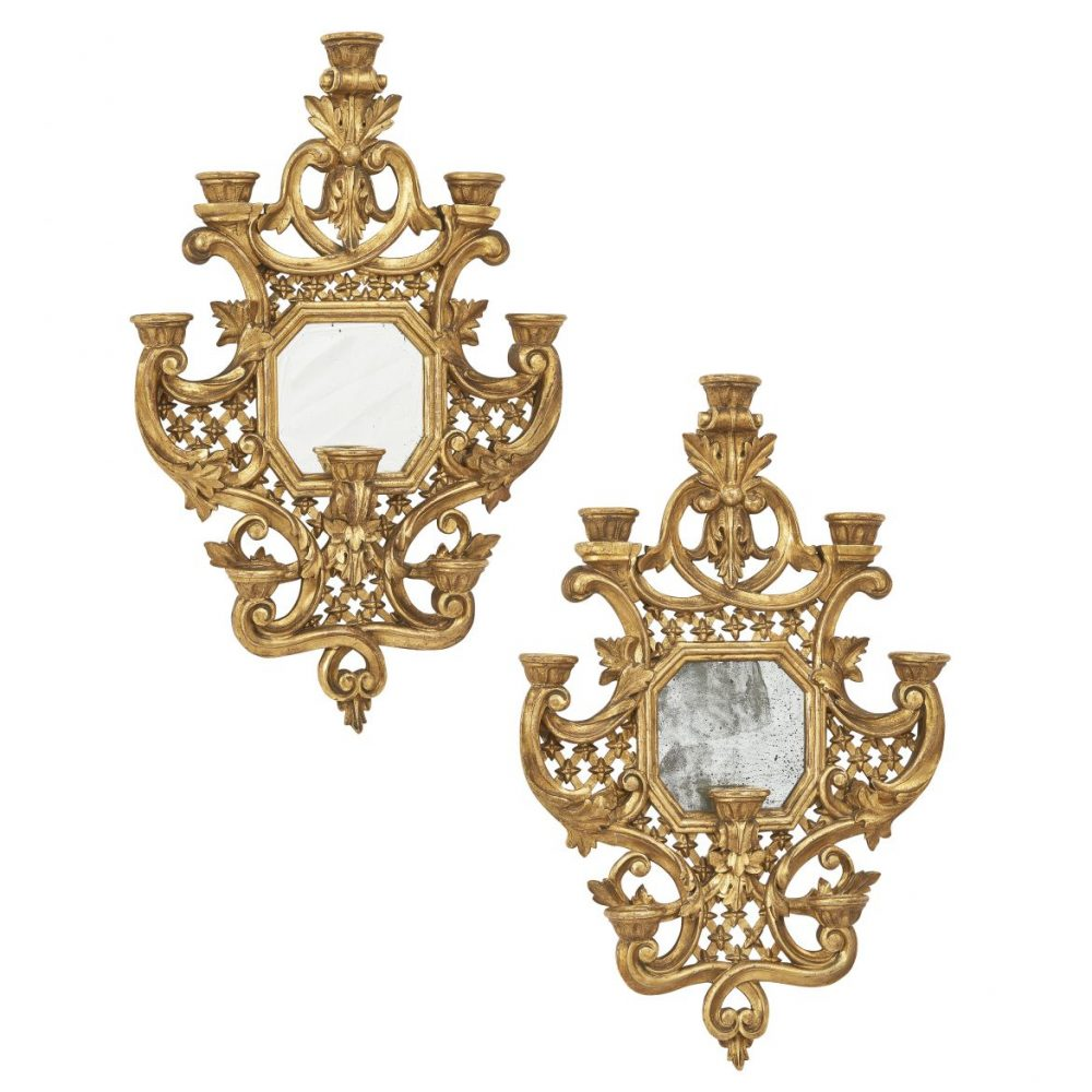 Baroque Style Giltwood Wall Sconces