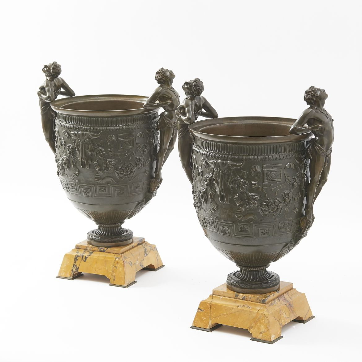 Bronze And Sienna Marble Grand Tour Urns