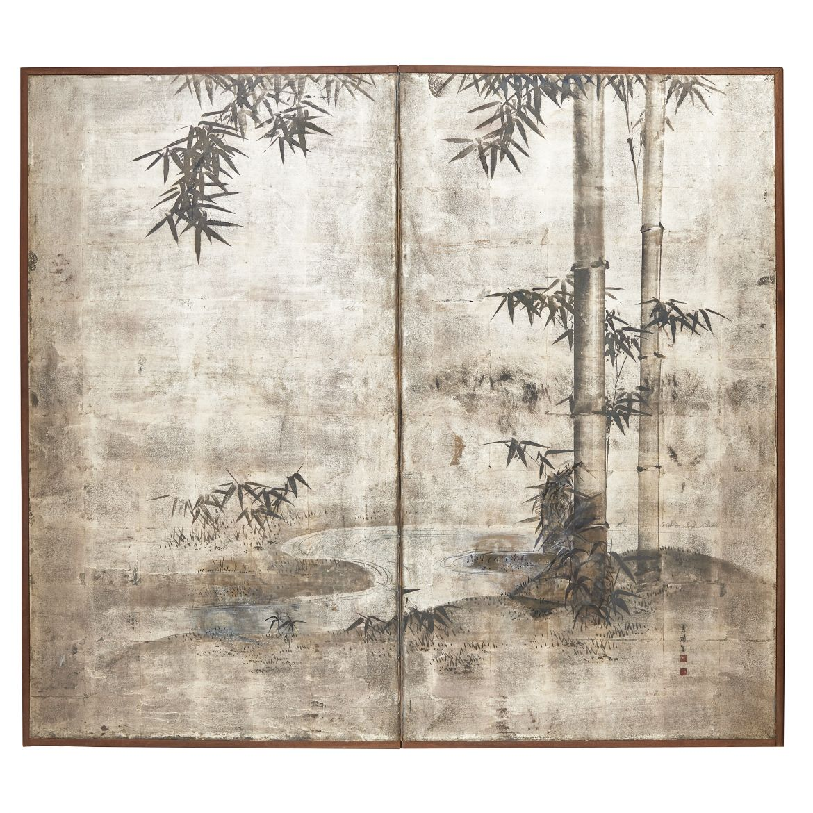 Japanese Silvered Paper Screen