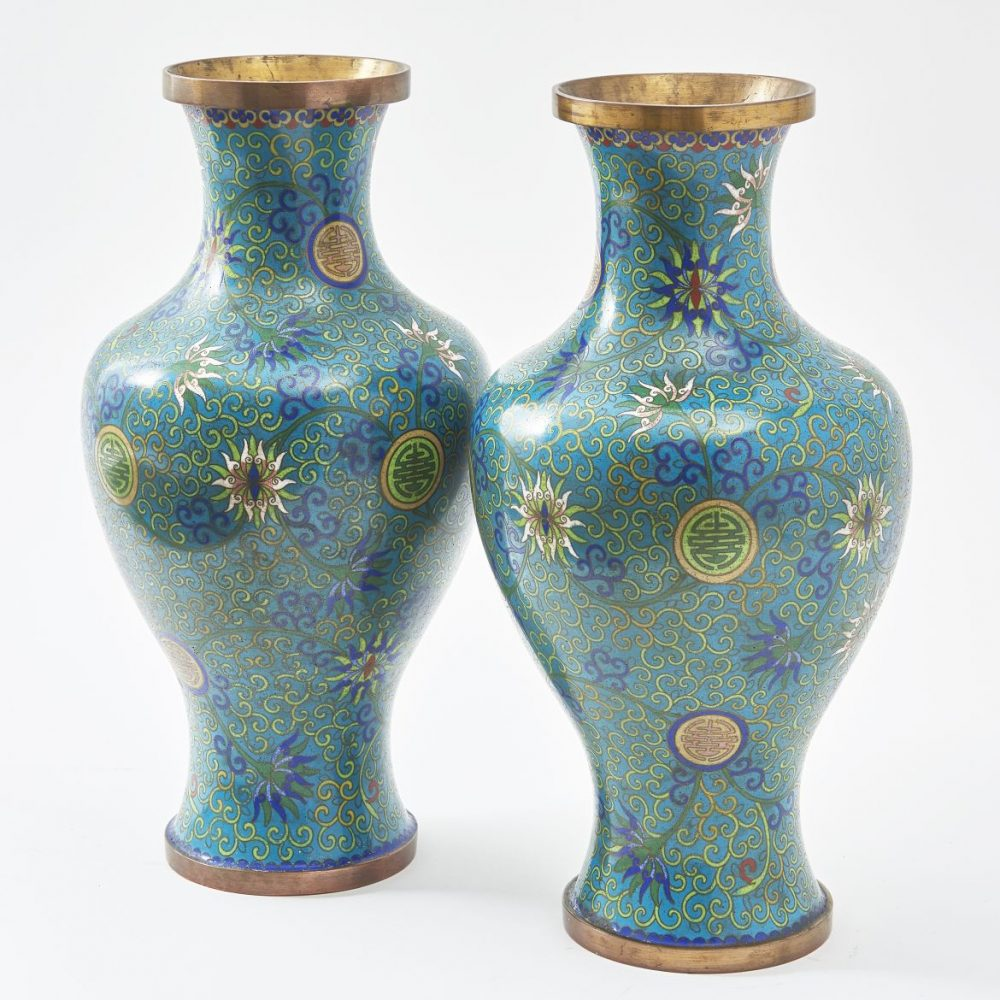 Chinese Green Cloisonné Vases