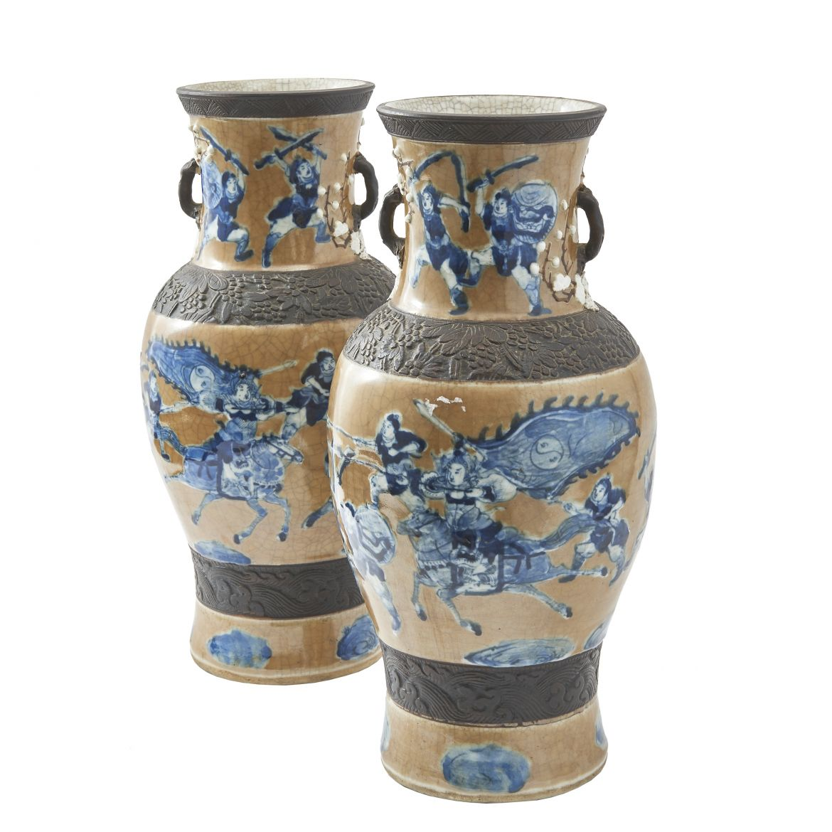 Pair Chinese Crackleware Vases