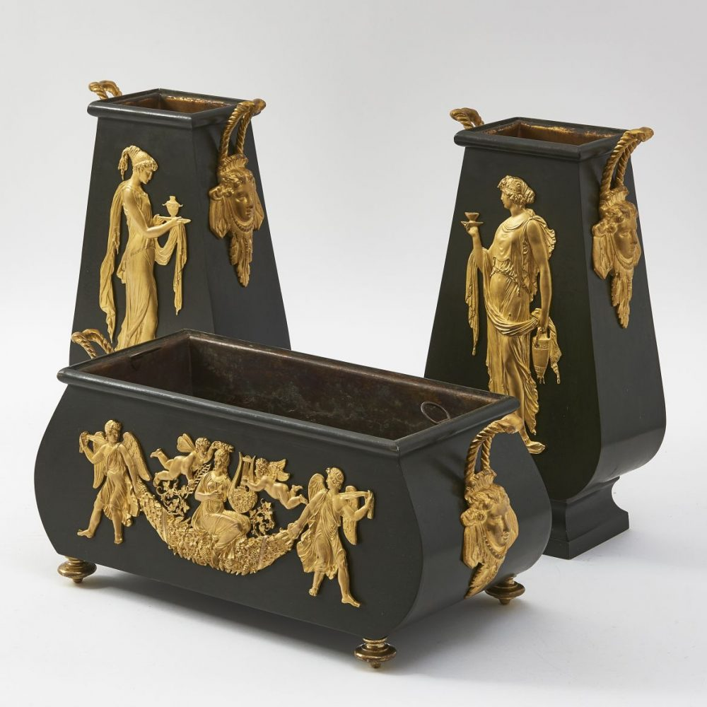 French Empire Style Tole And Ormolu Garniture