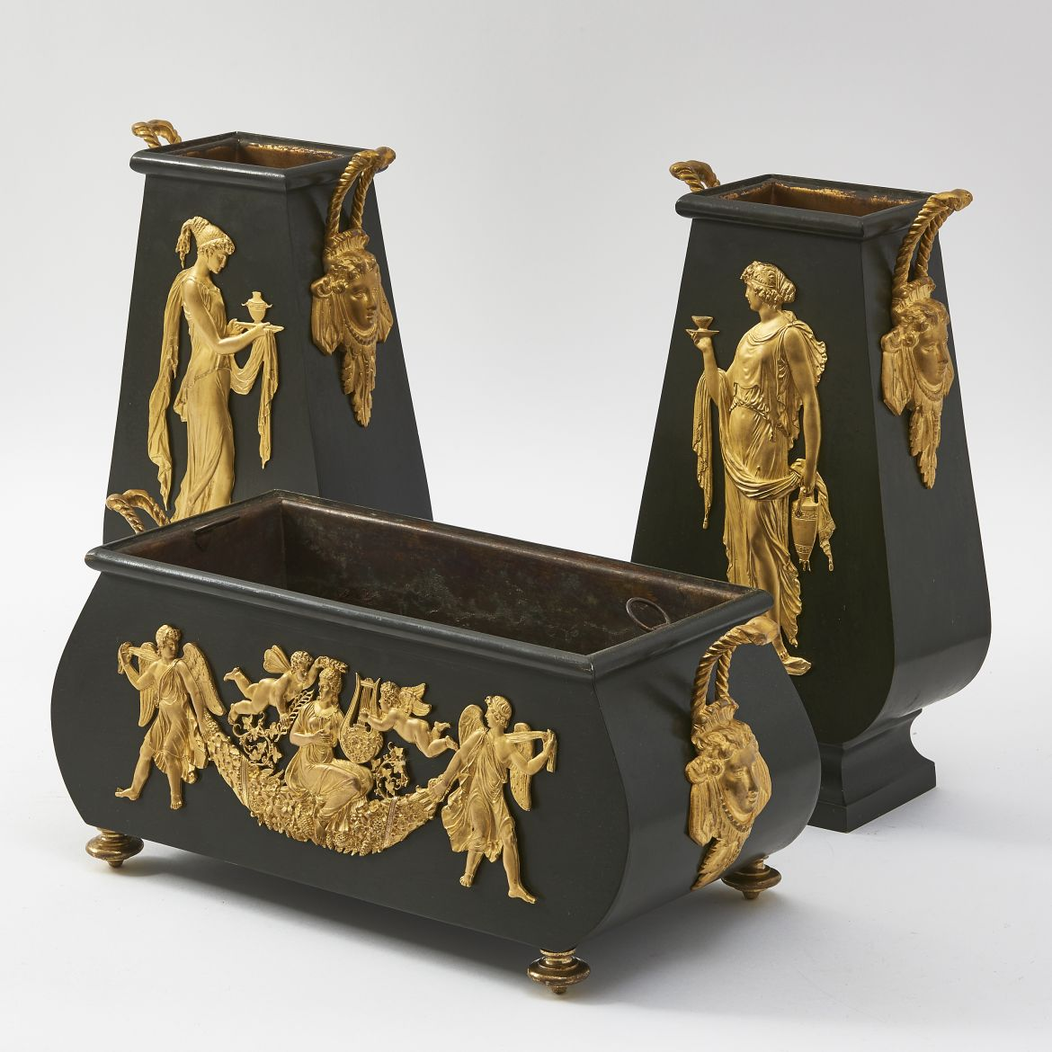 Empire Style Tole And Ormolu Garniture