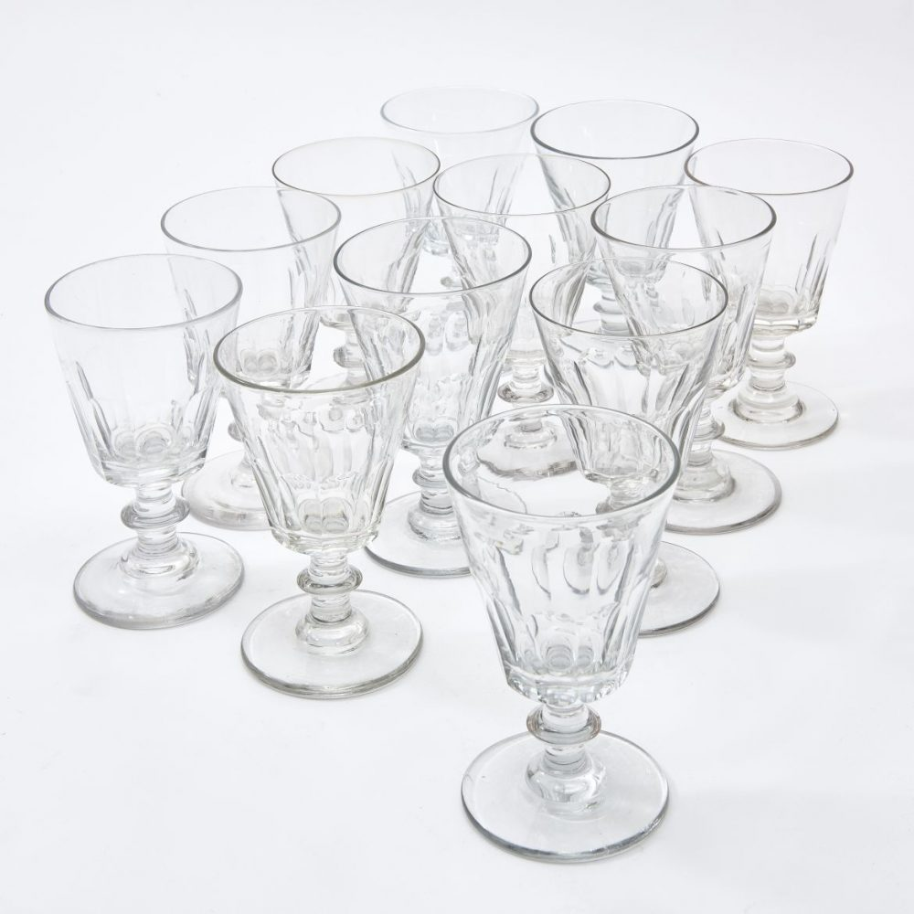 Twelve French Straight Sided Glasses