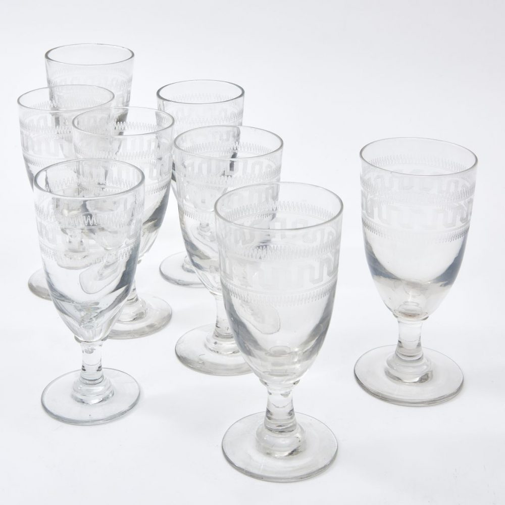 Eight French Etched Absinthe Glasses