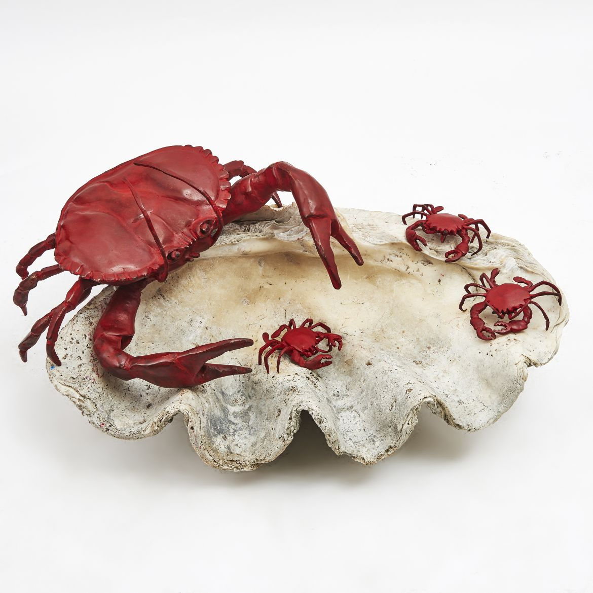 Antique Clam Shell With Paula Swinnen Crabs