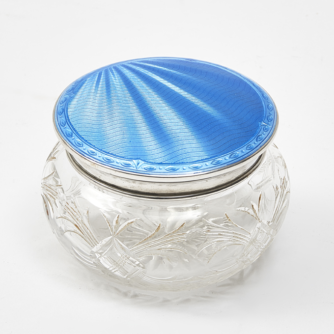 Richard Comyns Hallmarked Enamel Powder Pot