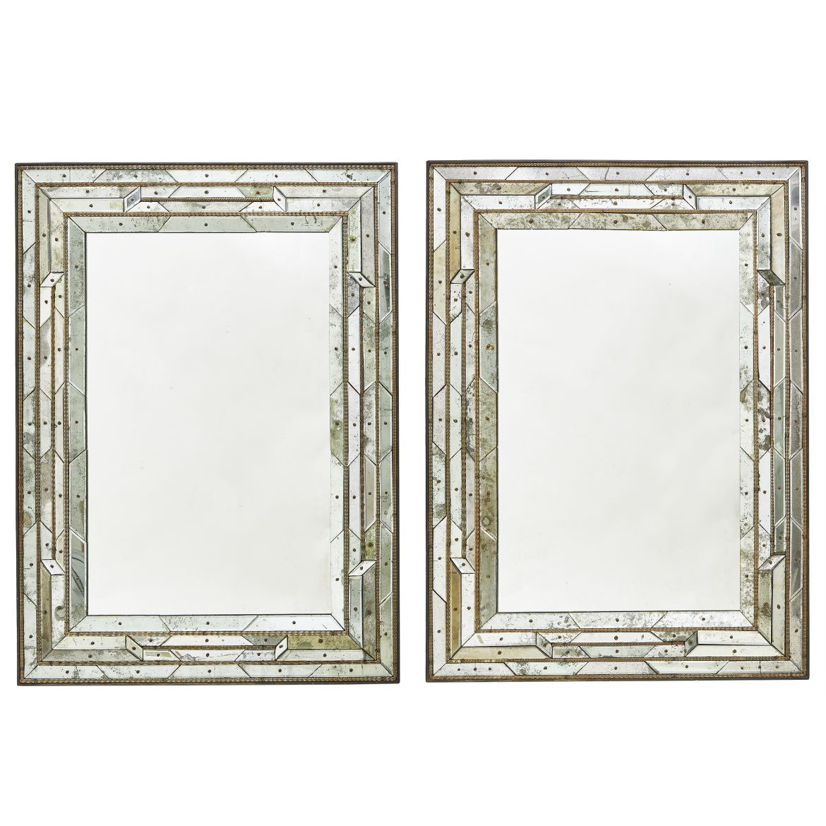 Pair Venetian Multi Faceted Glass Mirrors