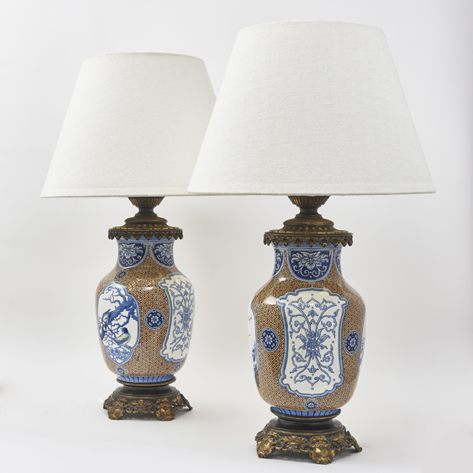 French Faience Chinoiserie Lamps