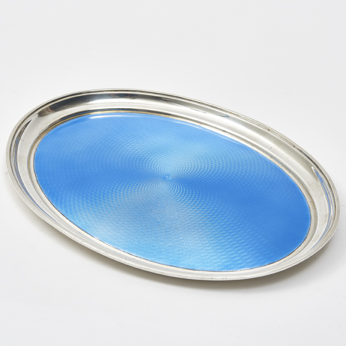 English Silver Tray With Guilloche Enamel