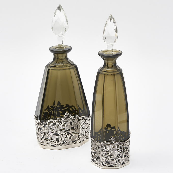 English Matched Smoked Glass and Silver Decanters