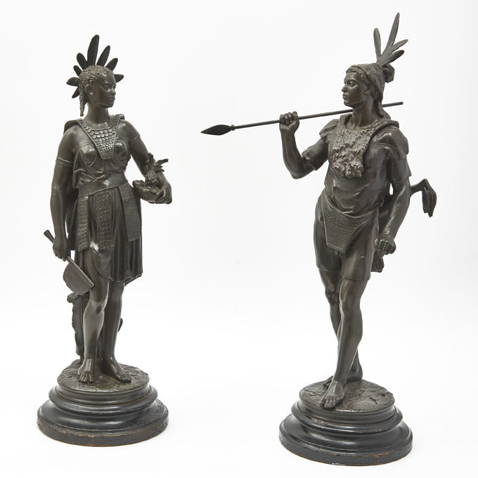 Pair Spelter Figures After Jean Jules Salmson