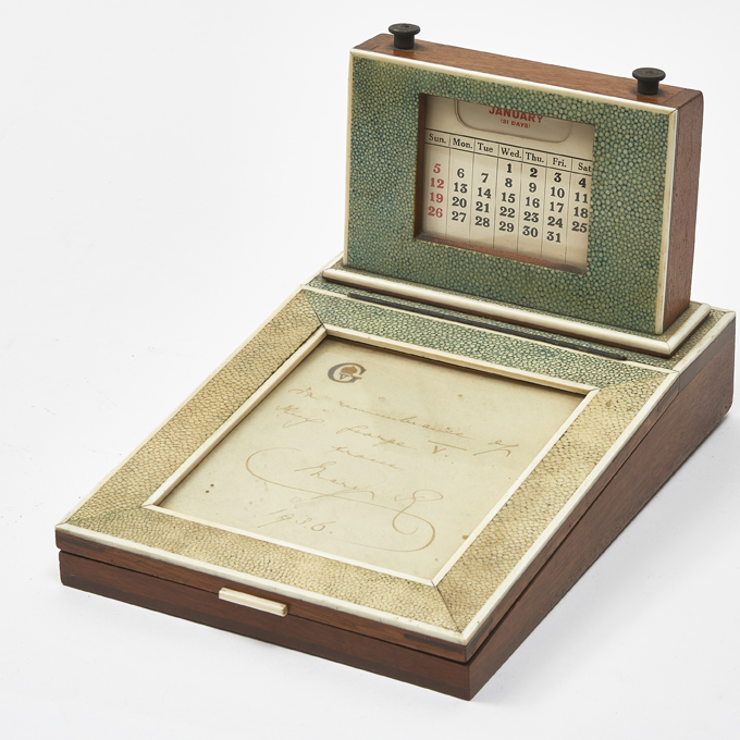 English 1930s Shagreen Calendar And Blotter