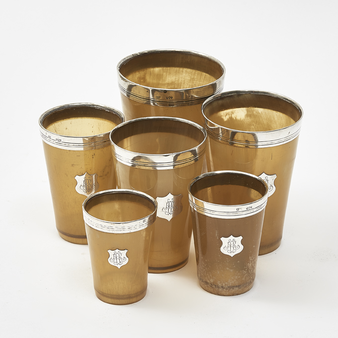 English Set of Silver and Horn Beakers