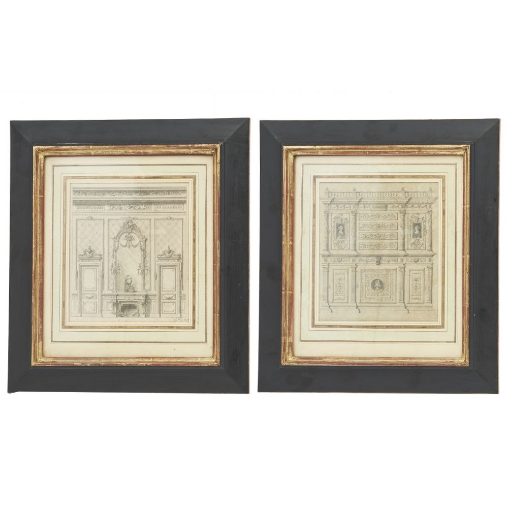 French Early 20th Century Pencil Drawings