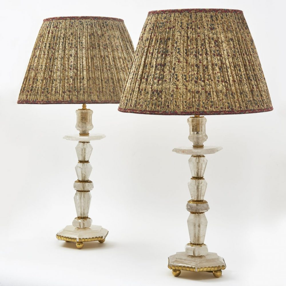 Pair Baroque Style Rock Crystal Lamps