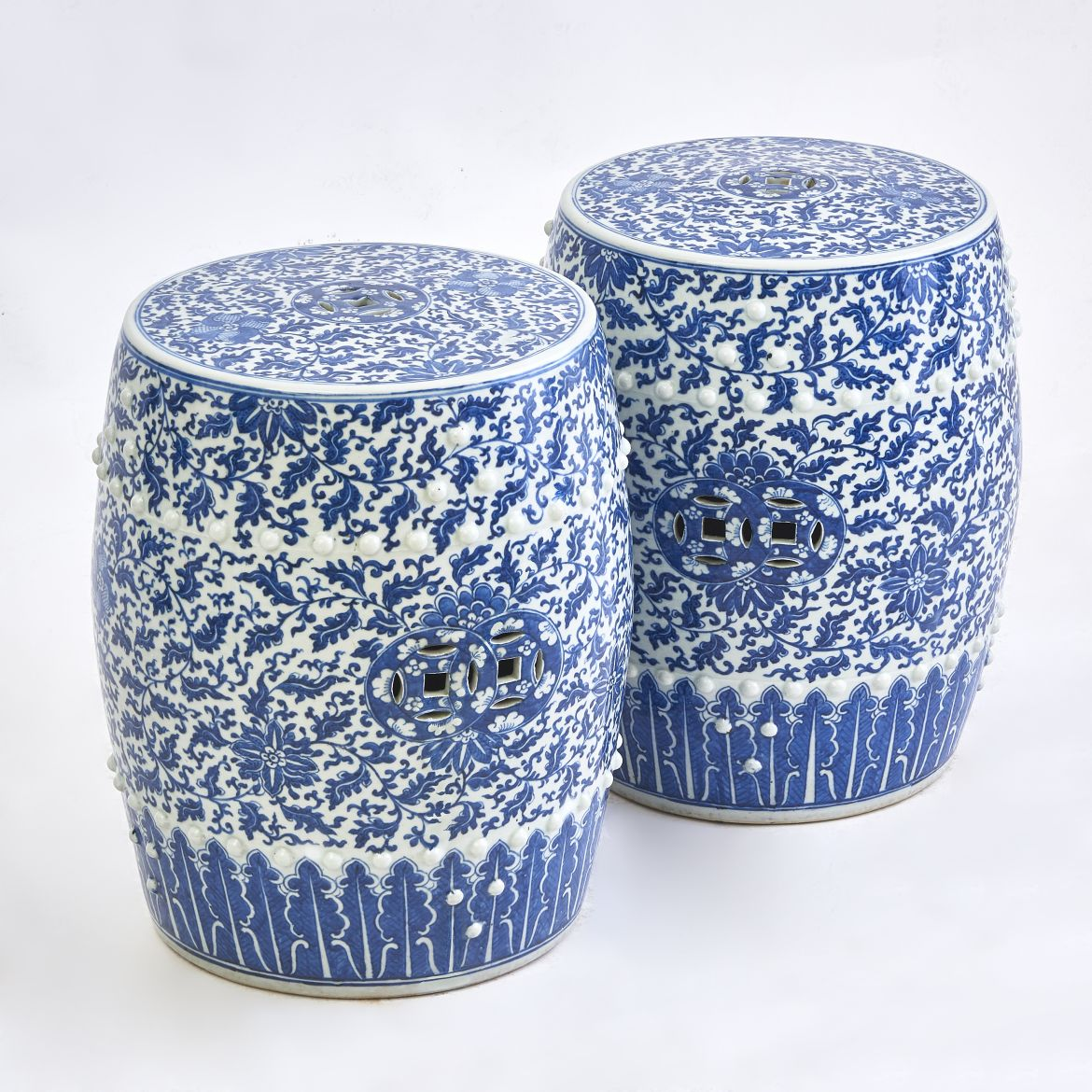 Chinese Blue And White Garden Stools