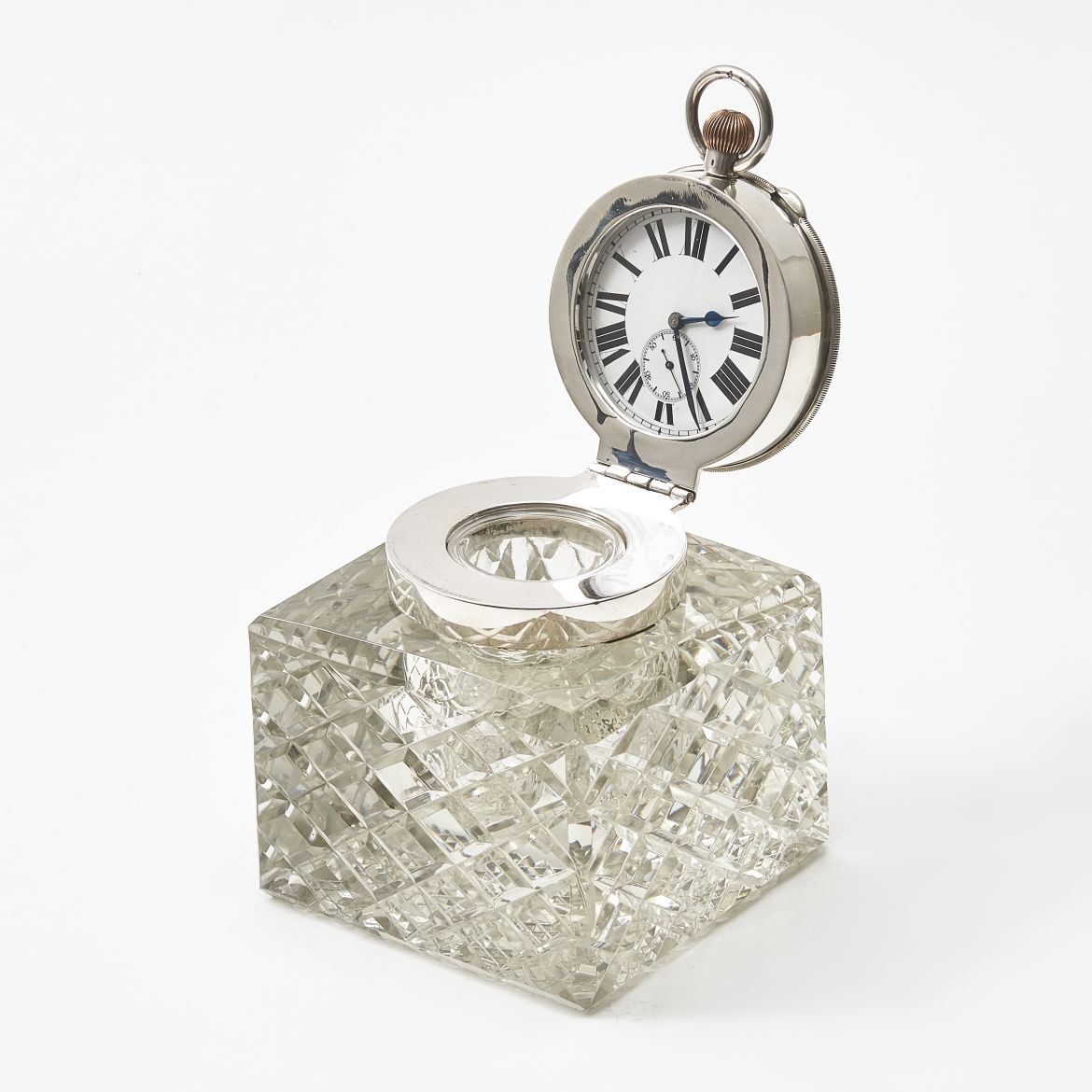 Large Glass Clock Inkwell